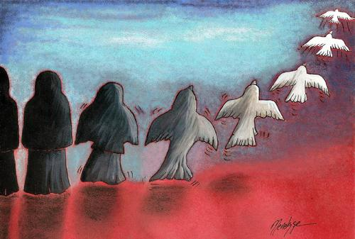 Cartoon: Flight to freedom (medium) by menekse cam tagged women,sharia,iran,sudan,freedom,changing