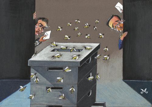 Cartoon: Greek Elections (medium) by menekse cam tagged wahl,elektion,partei,parteien,biene,bienen,wahlurne,box,ballot,party,democracy,new,left,syriza,tsipras,alexis,samaras,andonis,vote,bees,bee,beehive,election,greek,griechenland,wahlen