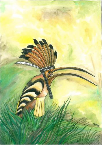 Cartoon: hoopoe (medium) by menekse cam tagged birds