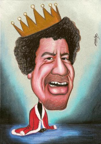 Cartoon: I am king (medium) by menekse cam tagged kaddafi
