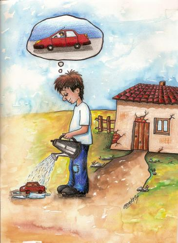 Cartoon: imagine (medium) by menekse cam tagged car,imagine,child,poorness
