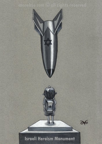 Cartoon: Israeli Heroism Monument (medium) by menekse cam tagged schools,children,child,heroism,monument,attacs,bomb,rocket,genocide,israel,palestine,gaza,gaza,palestine,israel,genocide,rocket,bomb,attacs,monument,heroism,child,children,schools