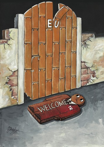 Cartoon: lucky doormat (medium) by menekse cam tagged wand,tür,krise,zusammenbruch,verfall,ökonomischen,politisch,politik,fußmatte,glück,europäischen,der,türkei,die,wall,door,crisis,collapse,decay,economic,political,politic,doormat,lucky,union,european,turkey,eu,eu,europa,türkei