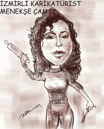 Cartoon: me by Hakan Ipek (medium) by menekse cam tagged longrange,weapon,woman,caricaturist,cartoonist,fighter,ipek,hakan,menekse