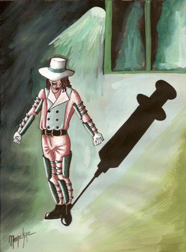 Cartoon: Michael Jackson (medium) by menekse cam tagged michael,jackson,die,pills,syringe