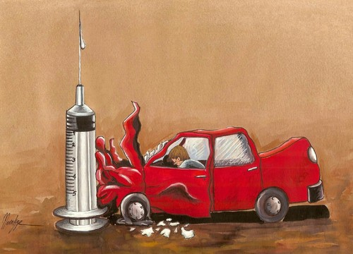 Cartoon: Narcotic (medium) by menekse cam tagged accident,crash,car,syringe,death,terrible,drugs,narcotic