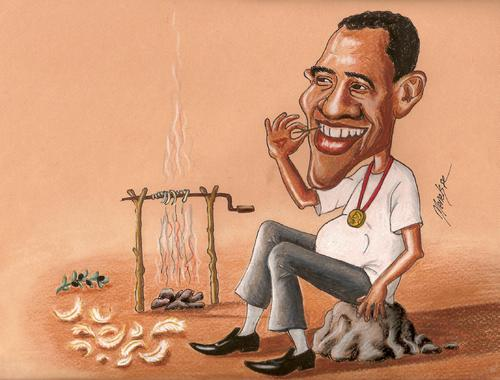 Cartoon: Obama and Nobel (medium) by menekse cam tagged obama,nobel,peace,prize