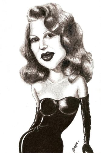 Cartoon: Rita Hayworth (medium) by menekse cam tagged rita,hayworth,gilda,american,actris,put,the,blame,on,mame