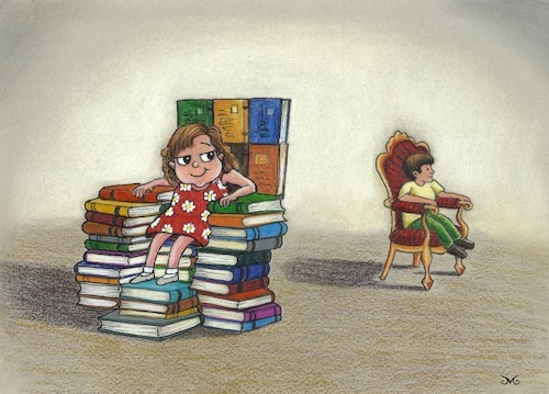 Cartoon: Strong Girls (medium) by menekse cam tagged girls,boys,books,chance,eguality,throne,luck