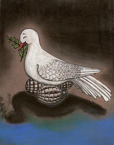 Cartoon: The brood (medium) by menekse cam tagged brood,peace,pigeon,bomb