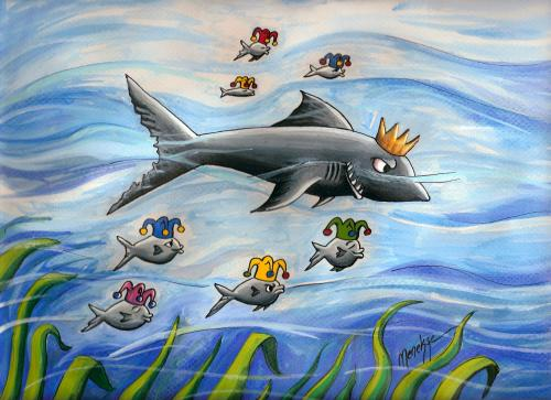 Cartoon: the force (medium) by menekse cam tagged force,shark,king,clowns,sea