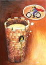 Cartoon: Bicycle-2 (small) by menekse cam tagged cycling,bikes,cartoon,contest,competition,rapunzel,white,bicycle,prince,belgium,kartoenale,euro,lovers,love,tower,liebhaber,lieben,fahrrad,turm,prinz