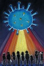 Cartoon: Invasion (small) by menekse cam tagged covid19,coronavirus,corona,epidemic,pandemic,korona,virus,strange,spacecraft,space