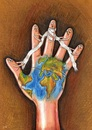 Cartoon: int.continental humanitarian aid (small) by menekse cam tagged continents,humanitarian,aid,assistance,particular,project,hand,fingers,symbolic,wars,poverty,hunger,wounds