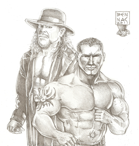 Cartoon: Batista and Undertaker (medium) by bennaccartoons tagged bennac,entertainment,wrestler