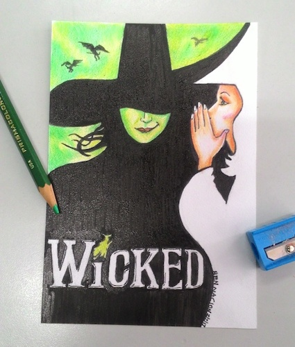 Cartoon: Wickedly awesome play (medium) by bennaccartoons tagged wicked,play,pencils,witch,dorothy
