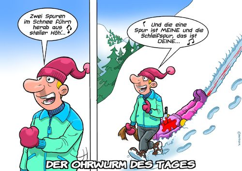 Cartoon: Ohrwurm (medium) by Joshua Aaron tagged lied,volkslied,vico,torriani,schlager,mord,eifersuchtsdrama,killer,lied,volkslied,vico,torriani,schlager,mord,eifersuchtsdrama,killer