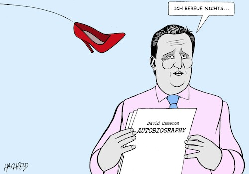 Cartoon: Cameron bereut nichts (medium) by Hachfeld tagged brexit,david,cameron,theresa,mays,schuh