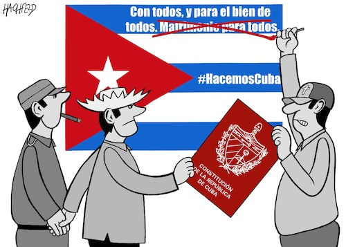 Cartoon: No same-sex marriage in Cuba (medium) by Hachfeld tagged cuba,constitution,same,marriage,evangelicals