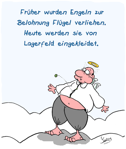 Cartoon: Belohnung (medium) by Karsten tagged lagerfeld,tod,engel,paradies,mode,kleidung,business,marketing,religion,mythen,gesellschaft,lagerfeld,tod,engel,paradies,mode,kleidung,business,marketing,religion,mythen,gesellschaft