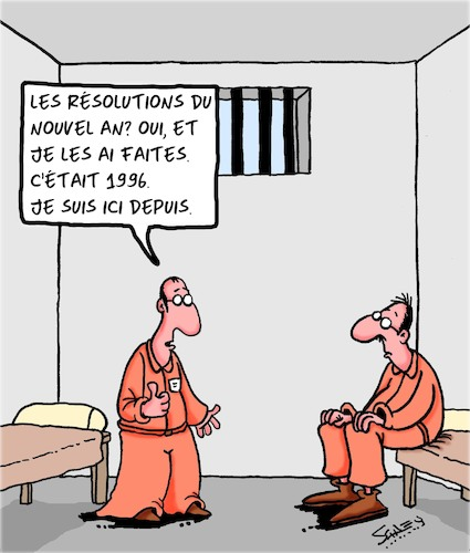Cartoon: Resolutions du Nouvel An (medium) by Karsten tagged resolutions,crime,prison,justice,lois,resolutions,crime,prison,justice,lois