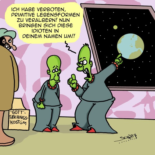 Cartoon: Voll primitiv! (medium) by Karsten tagged aliens,evolution,religion,terror,humor,verkleidungen,erde,menschheit,dummheit,gott,aliens,evolution,religion,terror,humor,verkleidungen,erde,menschheit,dummheit,gott