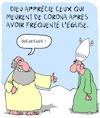 Cartoon: Bienvenue! (small) by Karsten tagged dieu,coronavirus,religion,politique,christianisme,mort,societe,sante