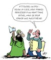 Cartoon: La liberte religieuse (small) by Karsten Schley tagged religion,islamisme,abattage,animaux,cjce,politique,democratie