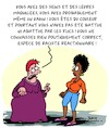 Cartoon: Reactionnaire ! (small) by Karsten tagged feminisme,fanatisme,sectarisme,politique,political,correctness,femmes,societe,racisme