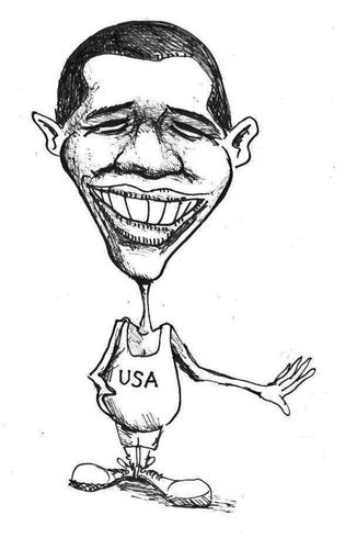 Cartoon: Barak Obama (medium) by urbanmonk tagged poltics