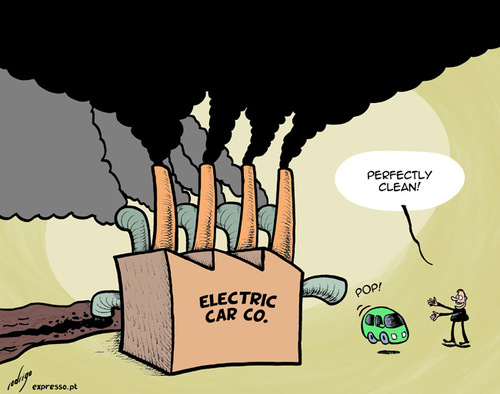 Cartoon: Almost green car (medium) by rodrigo tagged green,electric,car,environment,pollution,co2,global,warming