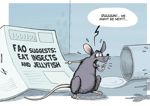 Cartoon: Hungry anyone?... (medium) by rodrigo tagged fao,food,famine,un,united,nations,insects,jellyfish,rat