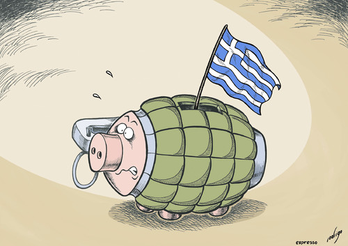 Cartoon: The Explosive Debt of Greece (medium) by rodrigo tagged greece,crisis,debt,europe,eu,riots,athens,protest,police,violence