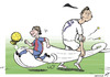 Cartoon: Messianic contest (small) by rodrigo tagged messi football cristiano ronaldo barcelona real madrid argentina portugal soccer ballon dor