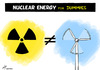 Cartoon: Nuclear versus green power (small) by rodrigo tagged nuclear energy power plant eolic natural green renewable source electric solar biofuel biodiesel global warming