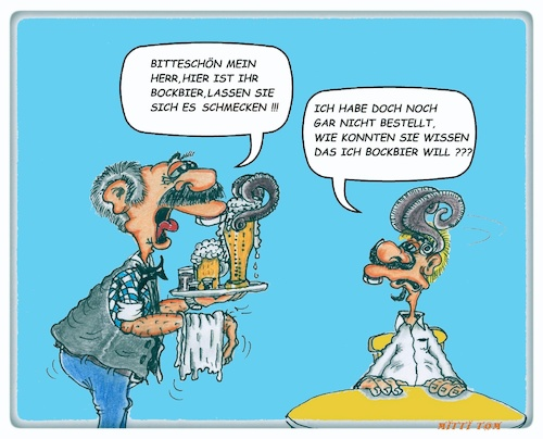 Cartoon: Bockbier (medium) by Mittitom tagged bock,bockbiet,kellner,gast,bestellung,bier
