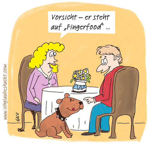 Cartoon: Fingerfood (medium) by ichglaubeshackt tagged fingerfoot,essen,rendezvous,hund,wauwau