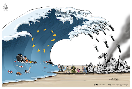 Cartoon: EU truth ! (medium) by Mikail Ciftci tagged eu,refugees,war,children,mikail