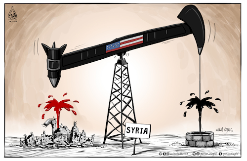 Cartoon: US policies in Syria (medium) by Mikail Ciftci tagged us,syria,war,oil,mikail