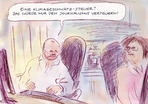 Cartoon: An der Zeit (medium) by Bernd Zeller tagged journalismus