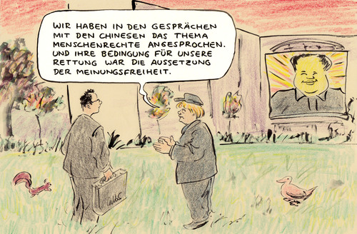 Cartoon: Chnesen retten (medium) by Bernd Zeller tagged china,menschenrechte
