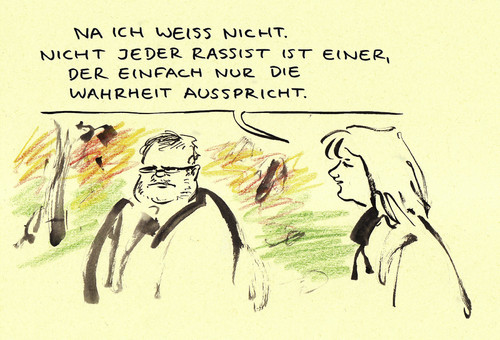 Cartoon: Eindeutig (medium) by Bernd Zeller tagged rassismus