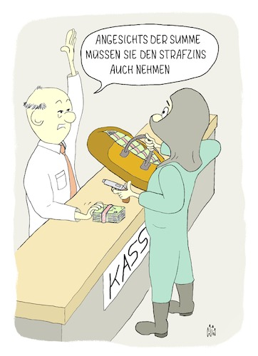 Cartoon: Strafzins (medium) by WiesenWerner tagged wirtschaft,bank,banken,strafzins,strafzinsen,bankraub,dieb,geld,zins,zinsen,cartoon,bankangestellter