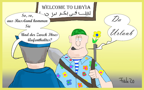 Cartoon: Söldner (medium) by Fish tagged libyen,soldaten,putin,russland,krieg,stellvertreterkrieg,söldner,urlaub
