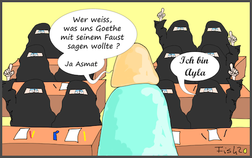 Cartoon: Vollverschleierung (medium) by Fish tagged schleier,vollverschleiert,schule,unterricht,hamburg,hamburger,senat,islam,religion,religionsfreiheit,grundgesetz,hijab,niqab,lehrergoethe,faust