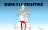 Cartoon: Kung Flu Fighting (small) by Fish tagged corona,trum,covid,19,sars,cov,pandemie,usa,wahlkampf,china,erkrankung,tod,ansteckung