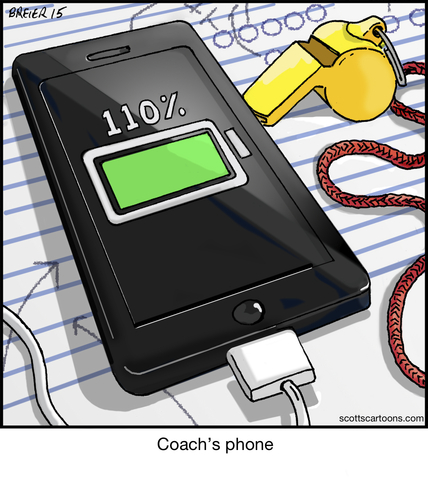 Cartoon: Coachs Phone (medium) by noodles tagged cell,phone,sports,110,percent,charging,charger,coach