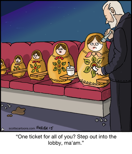 Cartoon: Nesting Dolls Scam (medium) by noodles tagged nesting,dolls,movie,theater,ticket,noodles,film