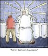 Cartoon: God Apology (small) by noodles tagged god,urinal,apology