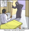Cartoon: Grim Adjustment (small) by noodles tagged death,reaper,chiropractor,adjustment